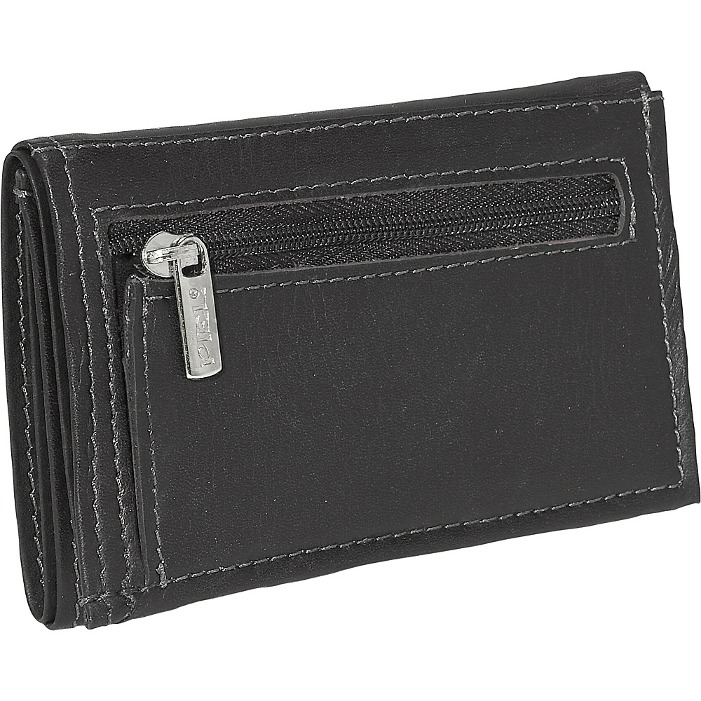 Piel Large Tri Fold Wallet Black