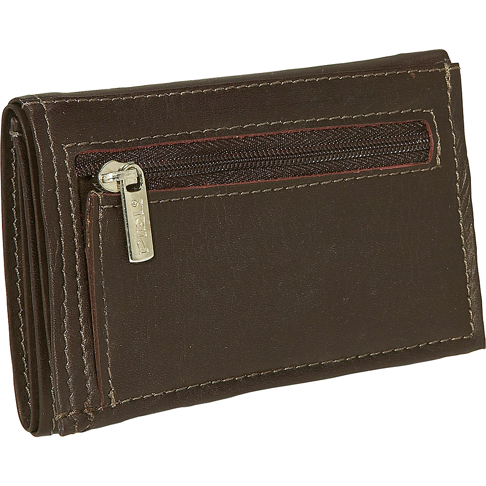Piel Large Tri Fold Wallet Chocolate