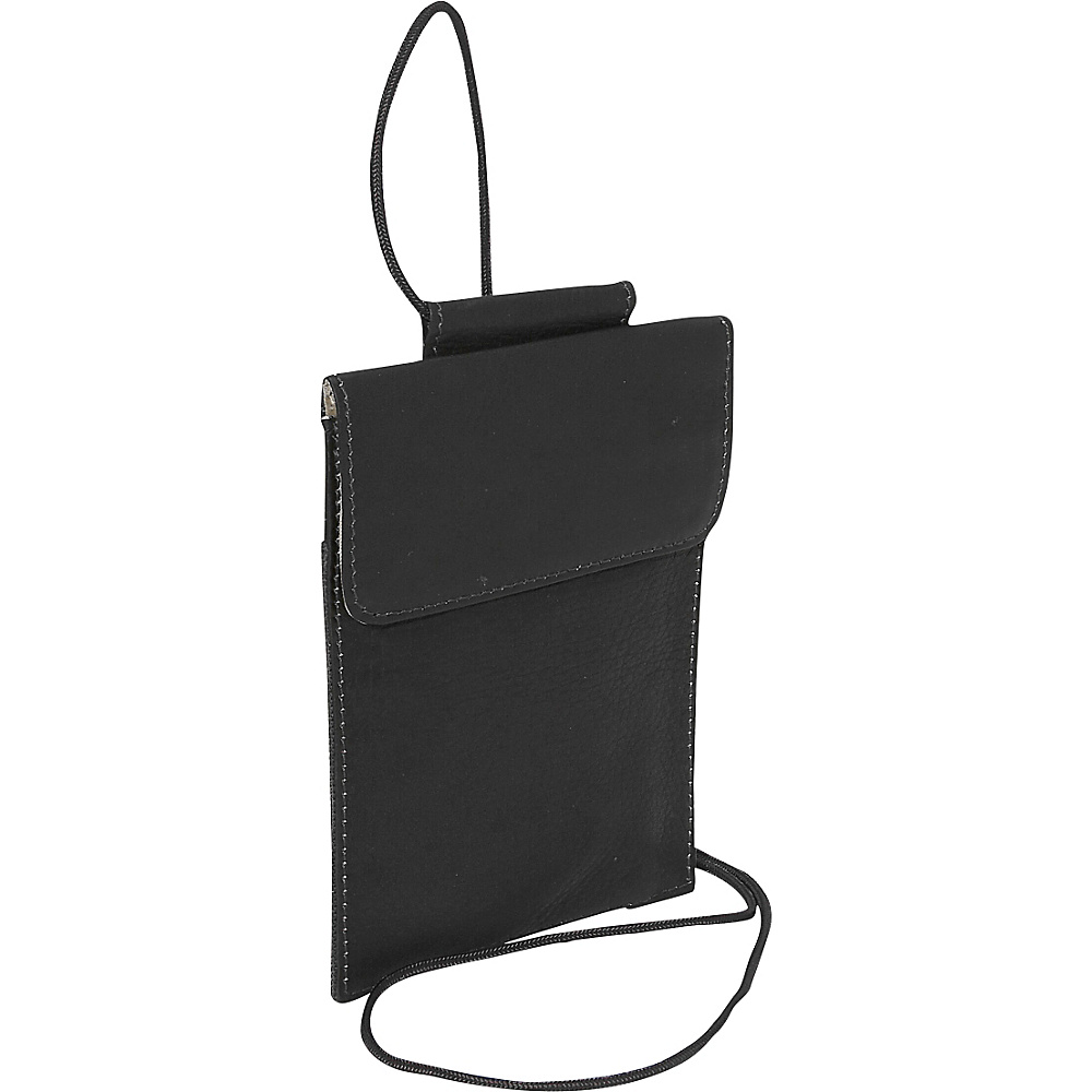 Piel Hanging Passport Holder Black Piel Travel Wallets