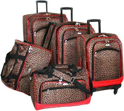 American Flyer Animal Print 5 Pc Spinner Luggage Set -