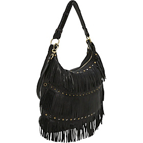 Top Zip Bag with Fringe Rows Black