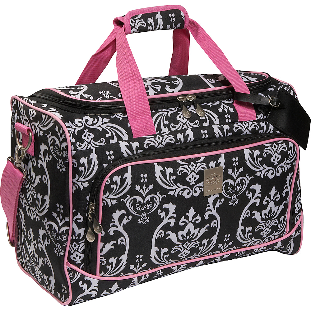 Jenni Chan Damask City Duffel - Black Pink - Duffels, Travel Duffels