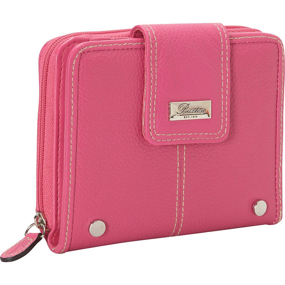 Buxton Westcott Tab Zip Around Attache Fuschia Buxton Women s Wallets