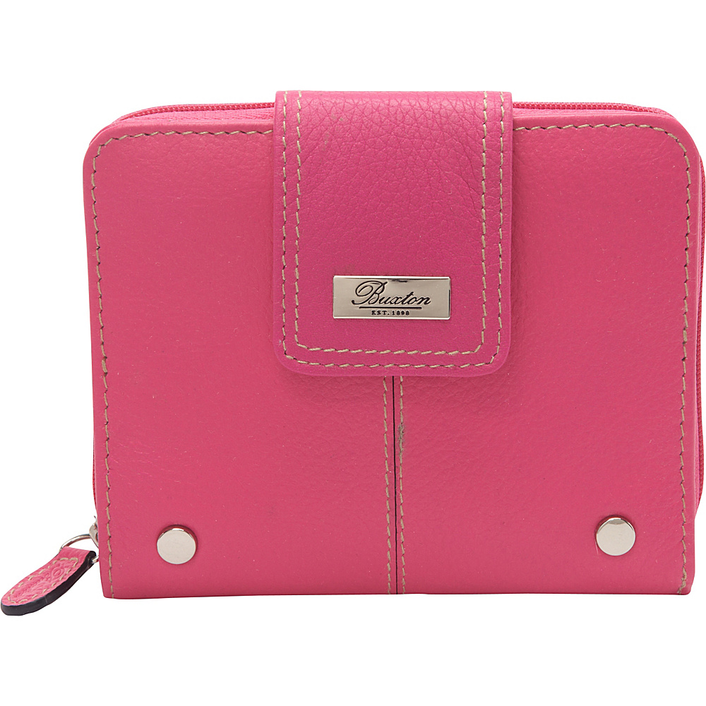 Buxton Westcott Tab Zip Around Attache Fuchsia Pink - Buxton Womens Wallets - Women's SLG, Women's Wallets