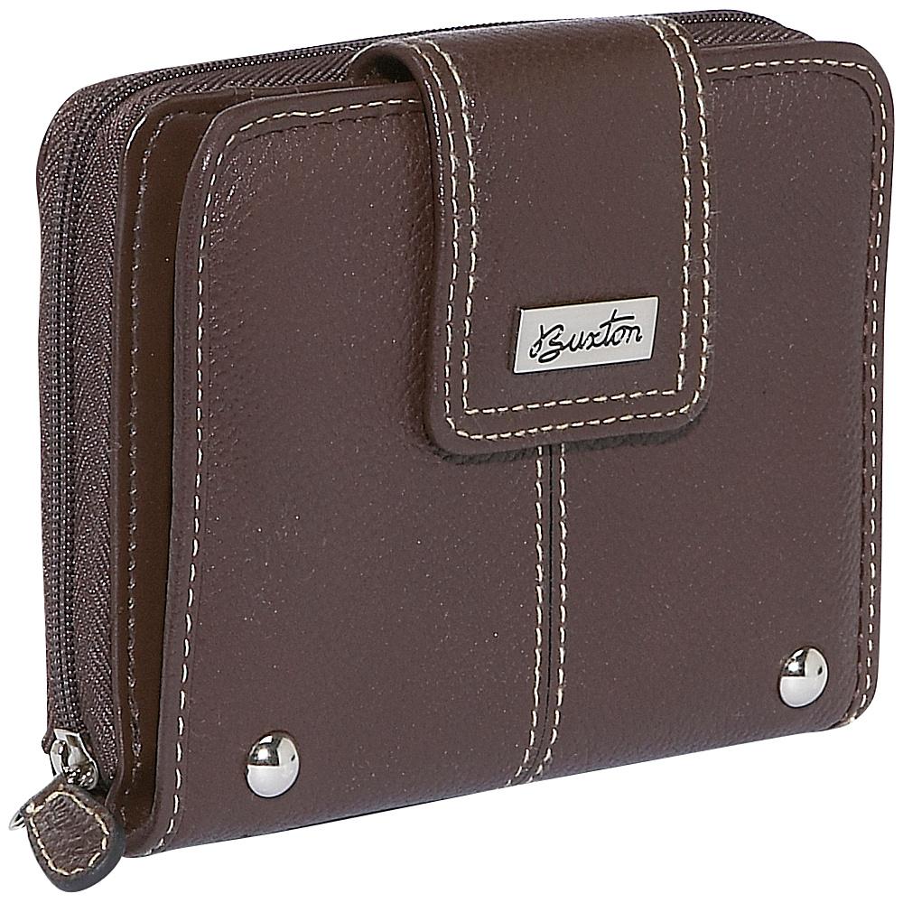 Buxton Westcott Tab Zip Around Attache - Brown - Women's SLG, Women's Wallets