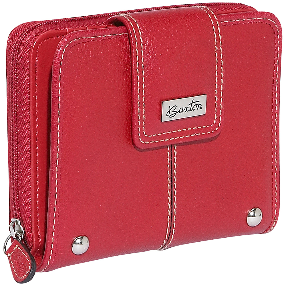 Buxton Westcott Tab Zip Around Attache - Red - Women's SLG, Women's Wallets