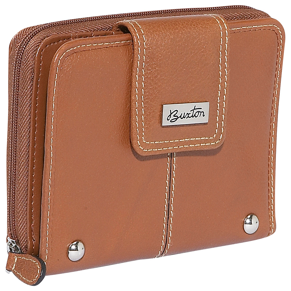 Buxton Westcott Tab Zip Around Attache - Tan - Women's SLG, Women's Wallets