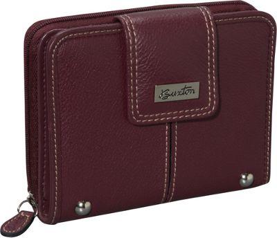 Buxton Westcott Tab Zip Around Attache Burgundy - Buxton Women's Wallets