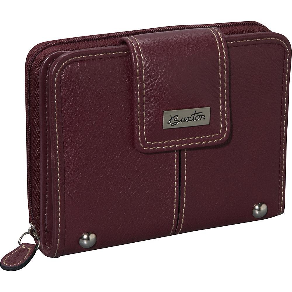Buxton Westcott Tab Zip Around Attache Burgundy - Buxton Womens Wallets - Women's SLG, Women's Wallets