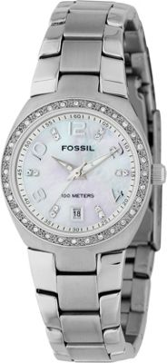 Fossil Ladies 3-Hand Stainless Steel MOP Dial Glitz Watch Silver - Fossil Watches