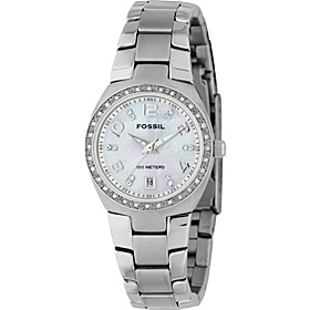 Fossil Ladies 3-Hand Stainless Steel MOP Dial Glitz Watch Silver
