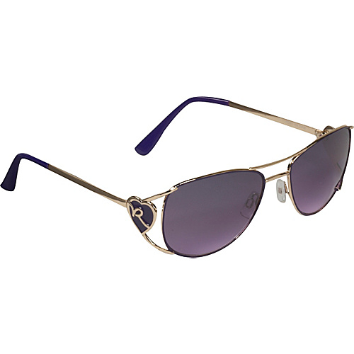 Rocawear Sunwear Heart Aviator Sunglasses - Gold/Purple