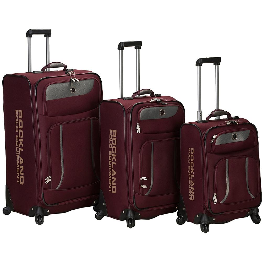 Rockland Luggage 3 Piece Navigator Spinner Luggage Set Burgundy - Rockland Luggage Luggage Sets