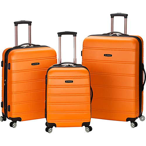 Rockland Luggage 3 Piece Carnival Hardside Spinner Set Orange - Rockland Luggage Hardside Luggage