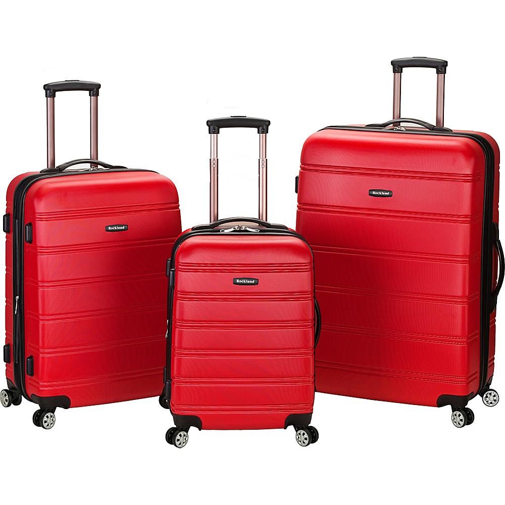 Rockland Luggage Melbourne 3-Piece Hardside Spinner Luggage Set Red - Rockland Luggage Luggage Sets - Luggage, Luggage Sets
