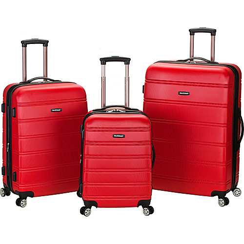 Rockland Luggage 3 Piece Carnival Hardside Spinner Set Red - Rockland Luggage Hardside Luggage