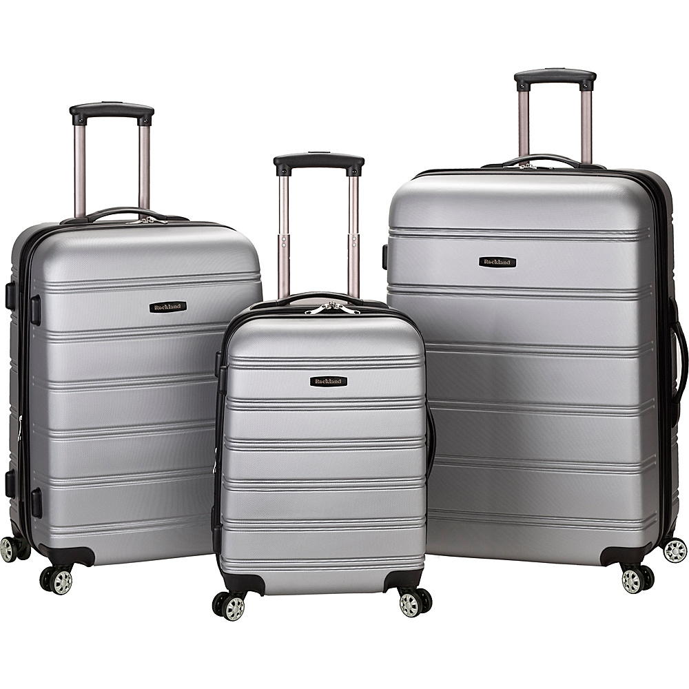 Rockland Luggage Melbourne 3-Piece Hardside Spinner Luggage Set Silver - Rockland Luggage Luggage Sets