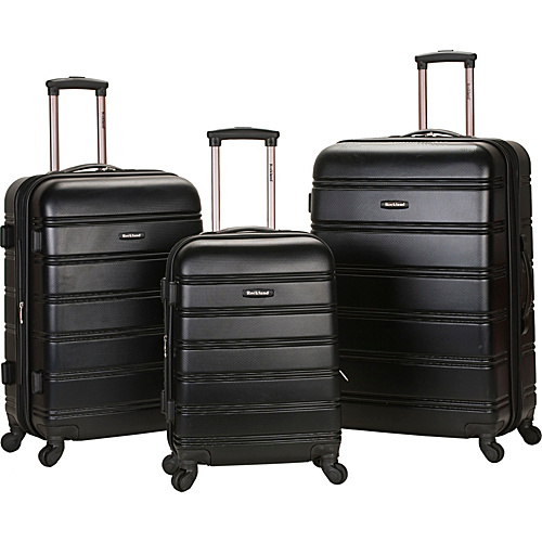 Rockland Luggage 3 Piece Carnival Hardside Spinner Set Black - Rockland Luggage Hardside Luggage