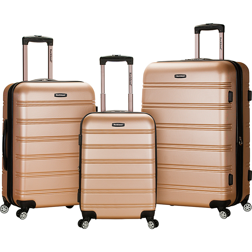 Rockland Luggage Melbourne 3-Piece Hardside Spinner Luggage Set Champagne - Rockland Luggage Luggage Sets