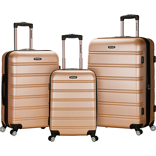 Rockland Luggage 3 Piece Carnival Hardside Spinner Set Champagne - Rockland Luggage Hardside Luggage