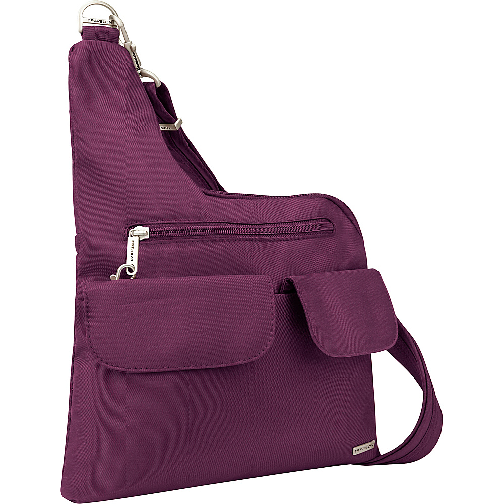 Travelon Anti-Theft Classic Crossbody Bag - Exclusive Colors Plum - Exclusive Color - Travelon Fabric Handbags - Handbags, Fabric Handbags