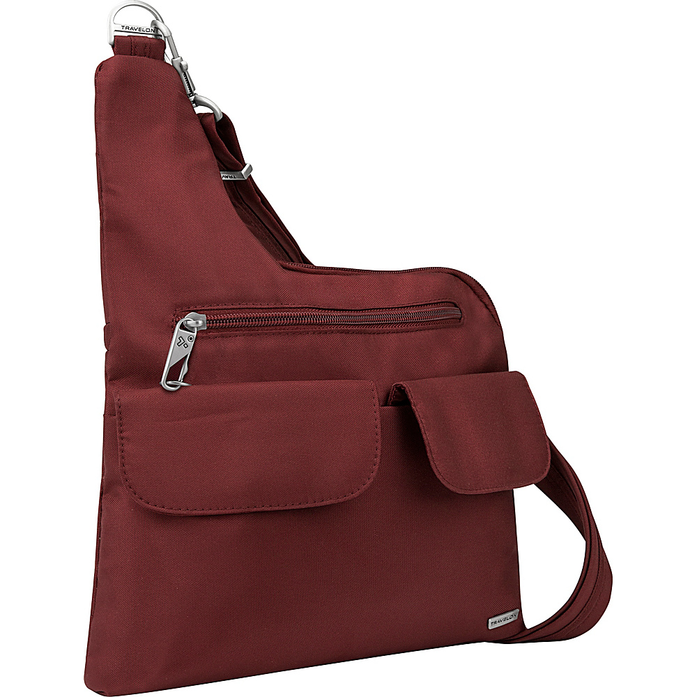 Travelon Anti-Theft Classic Crossbody Bag - Exclusive Colors Wine - Travelon Fabric Handbags - Handbags, Fabric Handbags