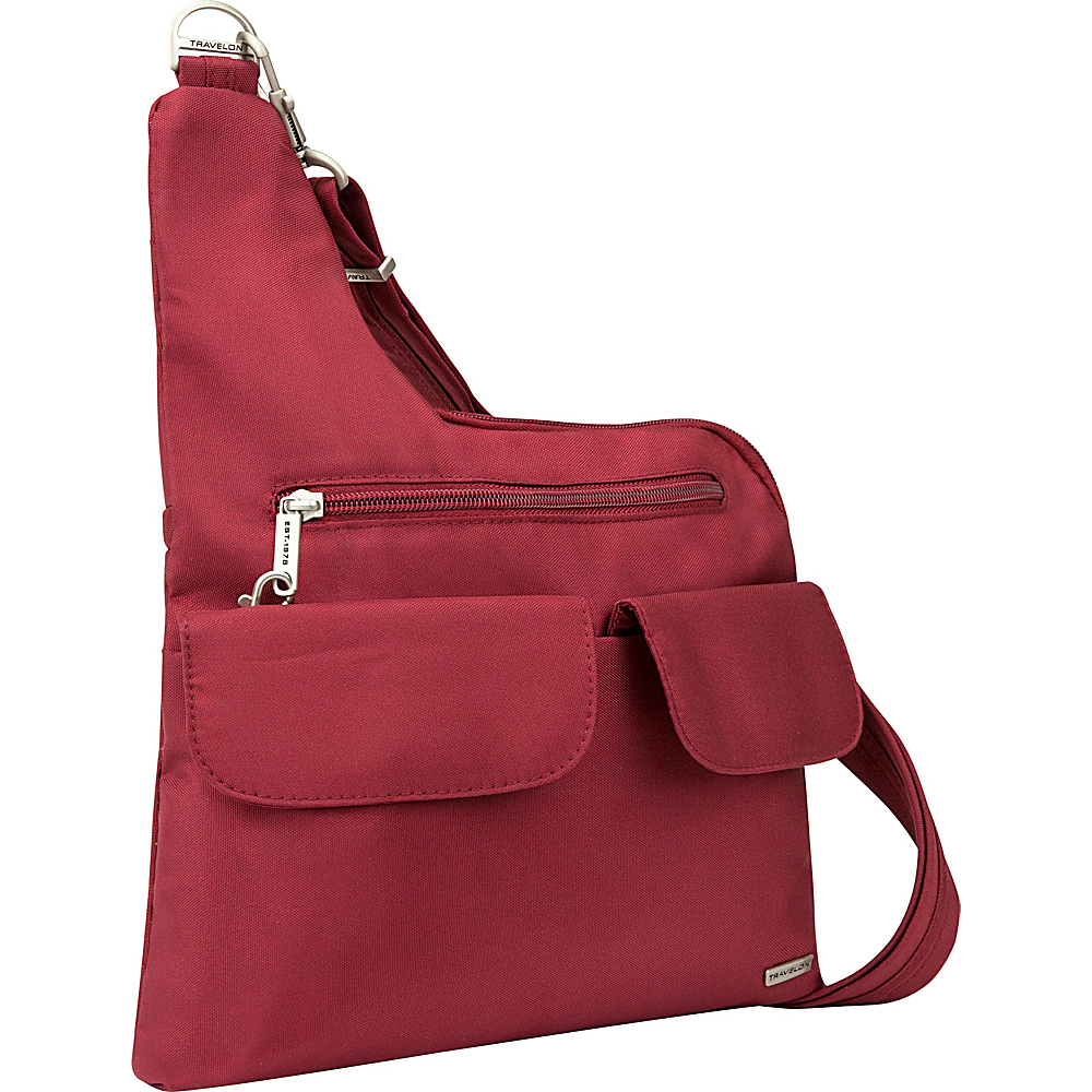 Travelon Anti-Theft Classic Crossbody Bag - Exclusive Colors Cranberry/Light Sand - Travelon Fabric Handbags - Handbags, Fabric Handbags