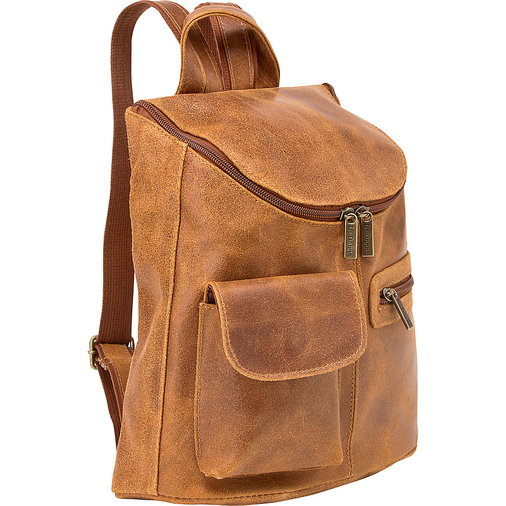 Le Donne Leather Distressed Leather Womens Backpack/Purse Tan - Le Donne Leather Leather Handbags
