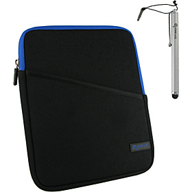 3-in-1 Kit - Super Bubble Neoprene Sleeve Case for iPad 2 Blue