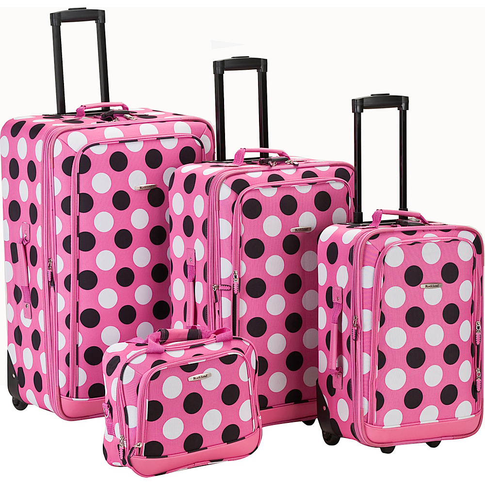 Rockland Luggage Style Right 4 Piece Luggage Set - Pink