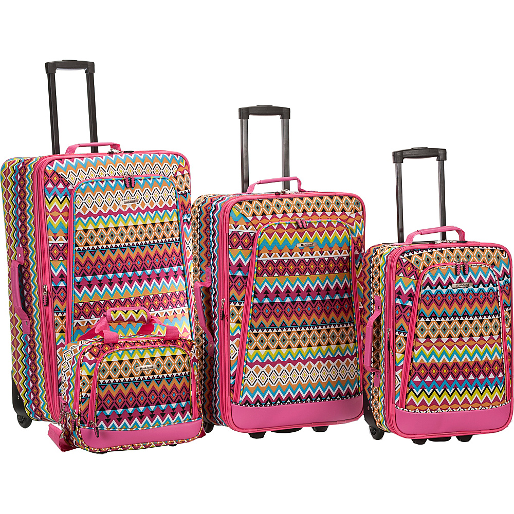 Rockland Luggage Escape 4-Piece Luggage Set Tribal - Rockland Luggage Luggage Sets