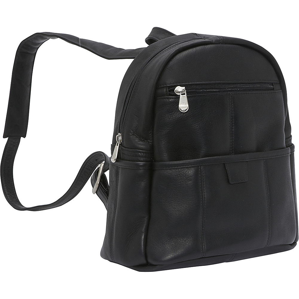 Le Donne Leather Quick Slip Womens Backpack - Black