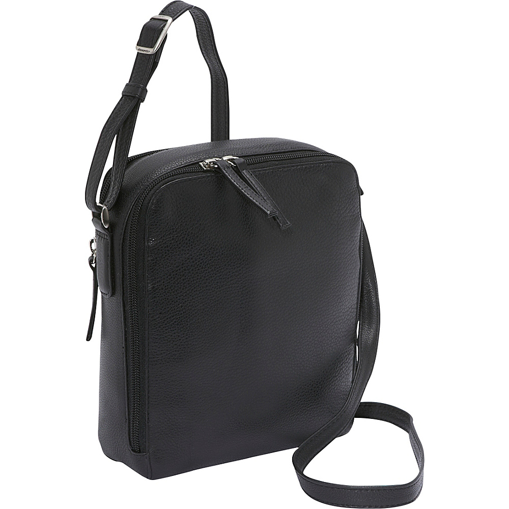 Derek Alexander Two Top Zip Camera Bag - Black - Handbags, Leather Handbags