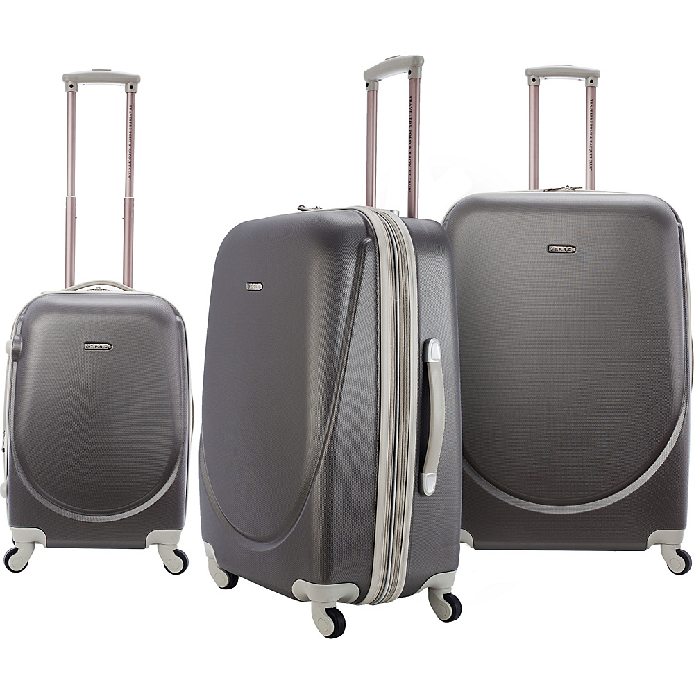 Travelers Club Luggage Barnet 3 Piece Hardside Spinner Set Silver - Travelers Club Luggage Luggage Sets - Luggage, Luggage Sets