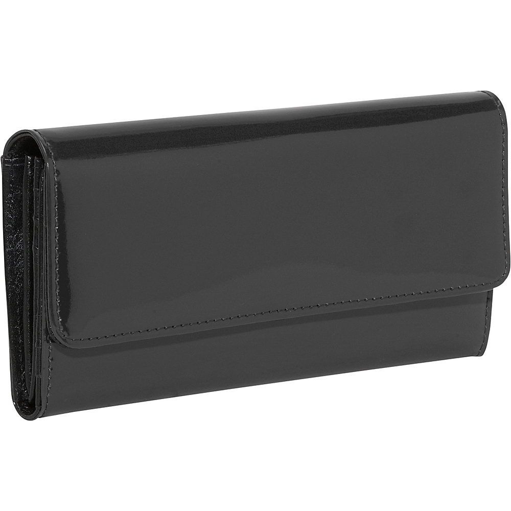Jack Georges Patent Collection Clutch Wallet Black - Jack Georges Ladies Clutch Wallets