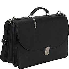 Platinum Collection Flapover Leather Laptop Briefcase Black