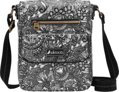 Sakroots Artist Circle Small Flap Messenger Black and White Spirit Desert - Sakroots Fabric Handbags