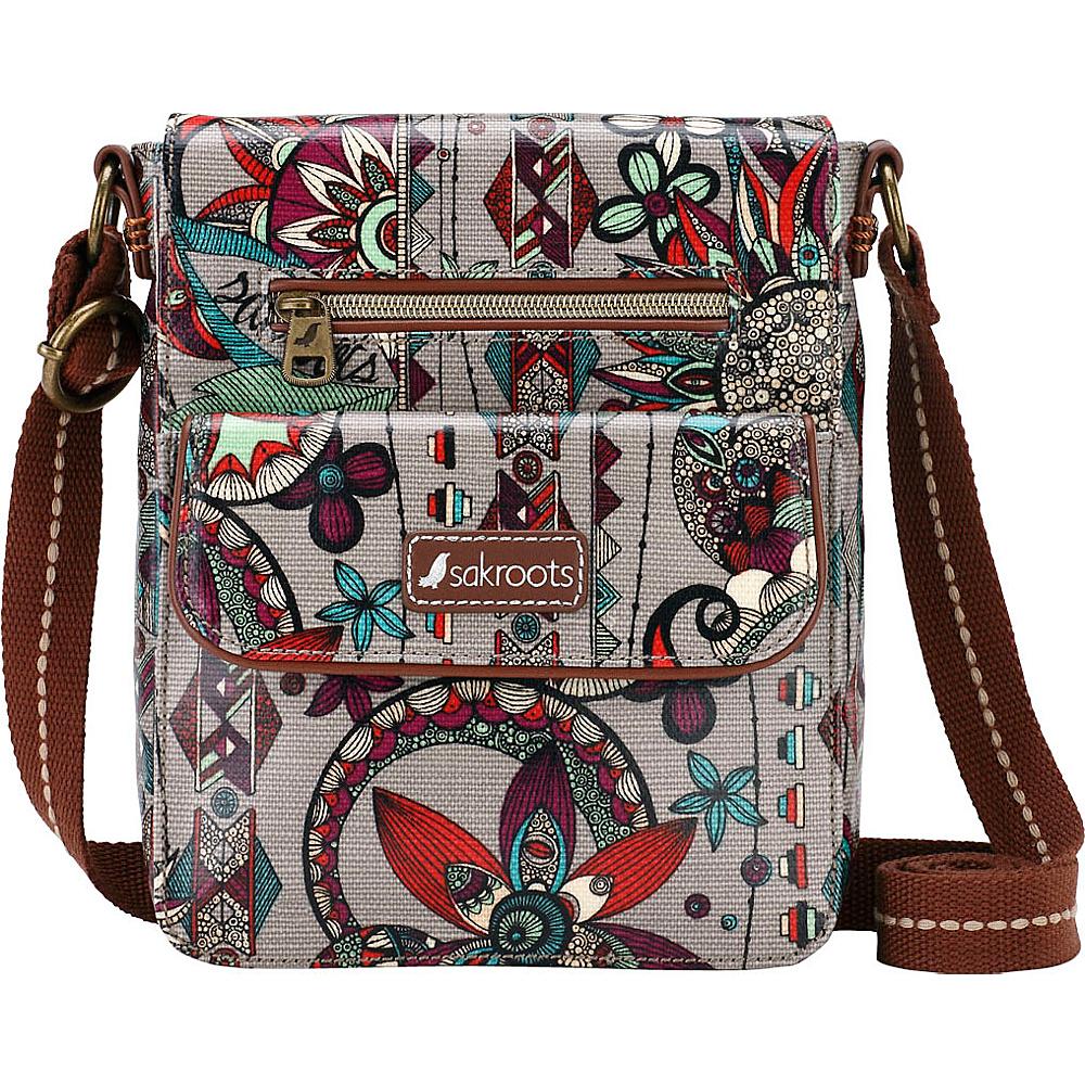 Sakroots Artist Circle Small Flap Messenger Charcoal Spirit Desert - Sakroots Fabric Handbags - Handbags, Fabric Handbags