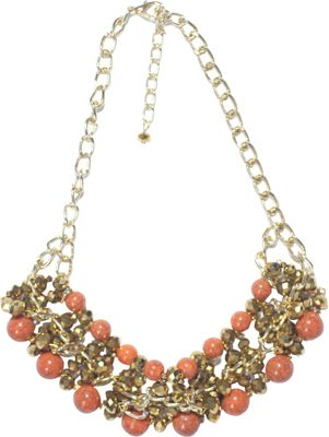 Carol For Eva Graham Designs Coral And Gold Bead Necklace