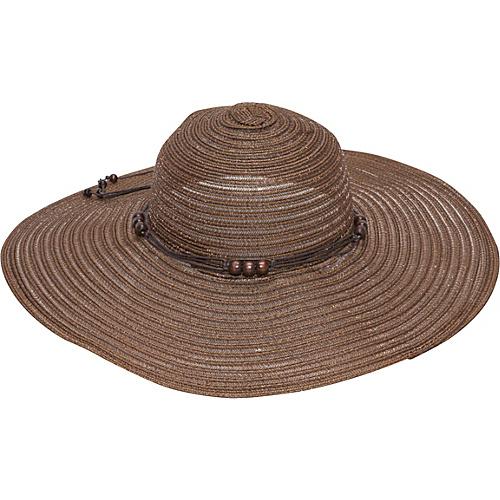 Magid Wooden Bead Straw Floppy Hat Brown - Magid Hats