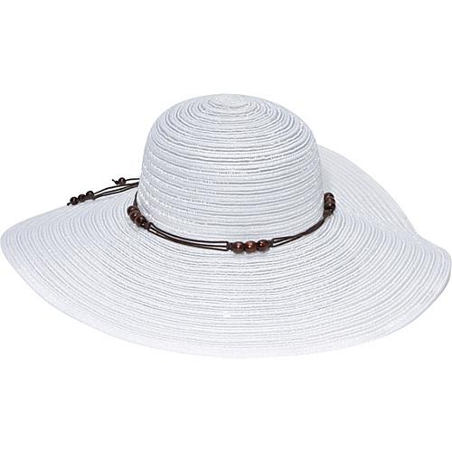 Magid Wooden Bead Straw Floppy Hat White - Magid Hats