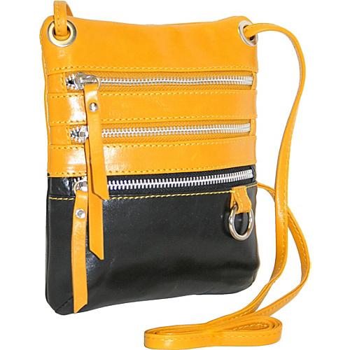 Nino Bossi Multi Zip Cross Body Mini Bag - Lemon/Black