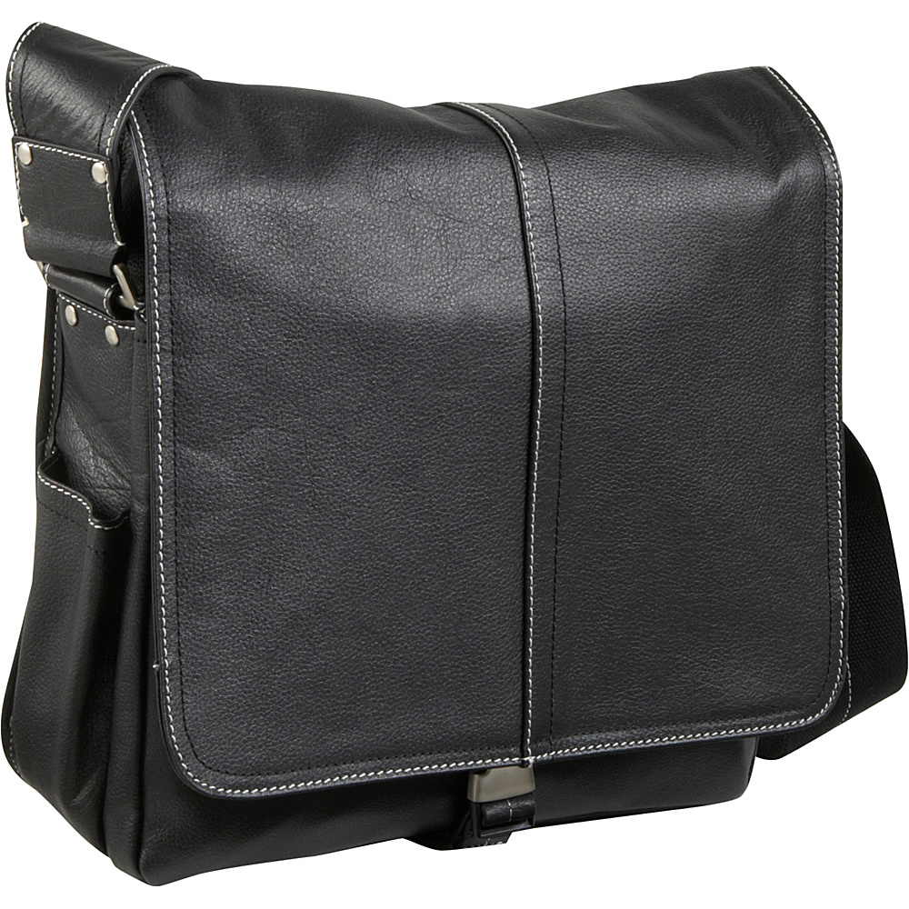 AmeriLeather Legacy Leather Teddy Messenger Bag - Black - Work Bags & Briefcases, Messenger Bags