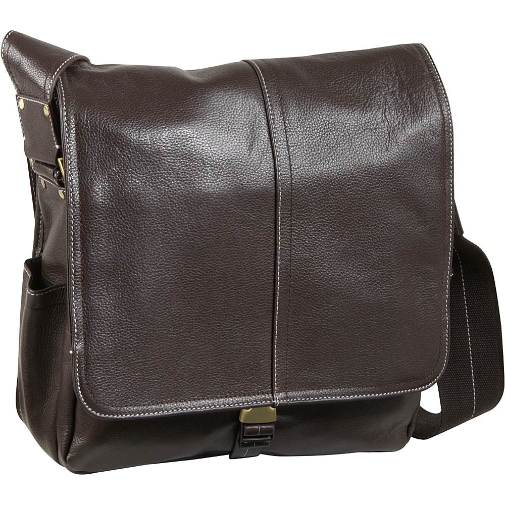 AmeriLeather Legacy Leather Teddy Messenger Bag - Dark - Work Bags & Briefcases, Messenger Bags