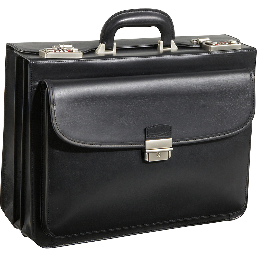 AmeriLeather Modern Attache Leather Executive Brief Black - AmeriLeather Non-Wheeled Business Cases - Work Bags & Briefcases, Non-Wheeled Business Cases
