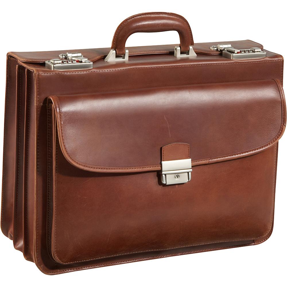 AmeriLeather Modern Attache Leather Executive Brief Brown - AmeriLeather Non-Wheeled Business Cases - Work Bags & Briefcases, Non-Wheeled Business Cases