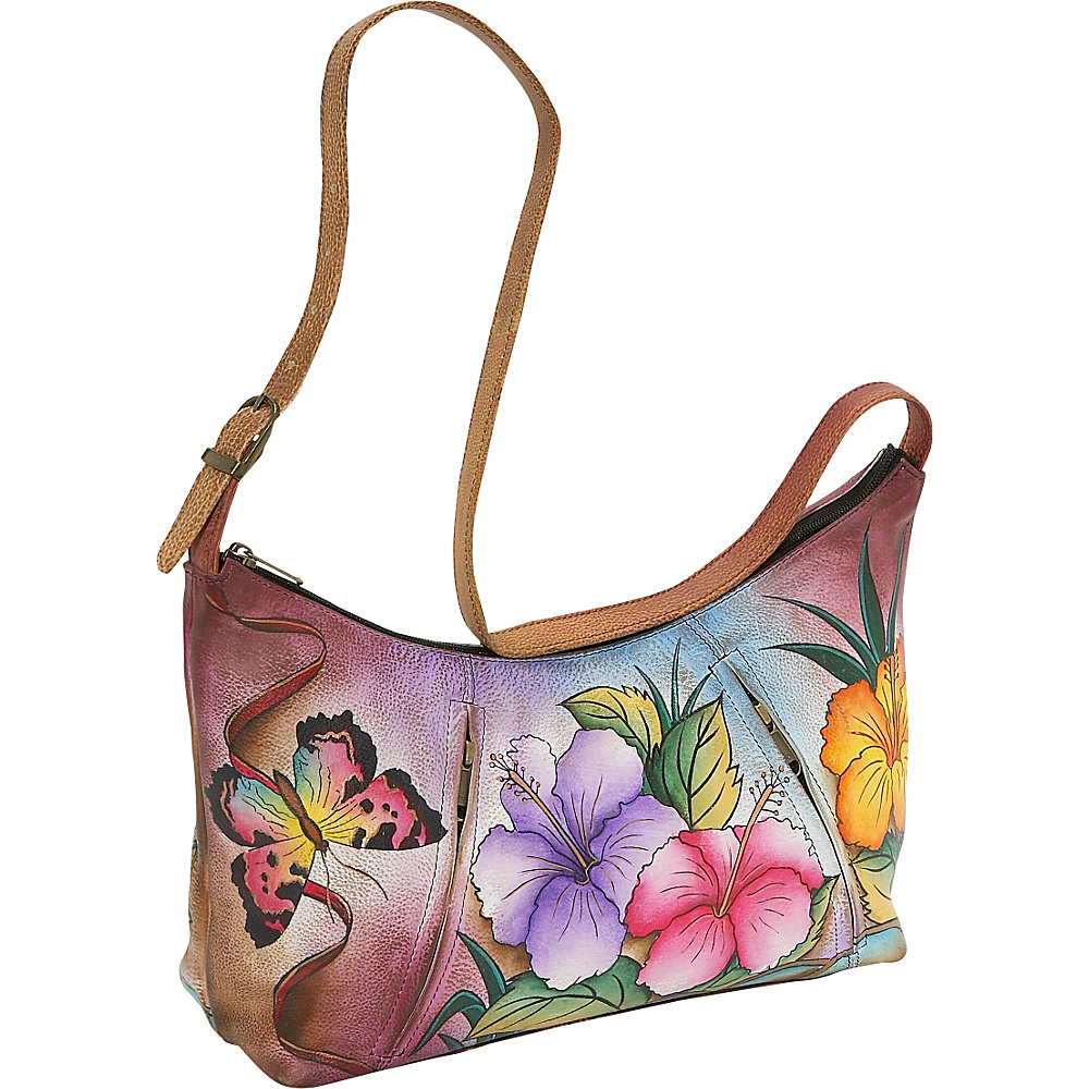 Anuschka Medium Hobo Hawaian Hibiscus - Anuschka Leather Handbags