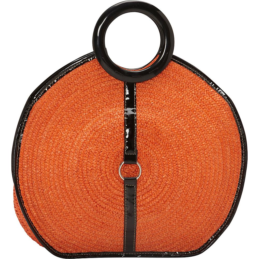Magid Milan Straw Top Handle Bracelet Round Bag Turquoise - Magid Straw Handbags