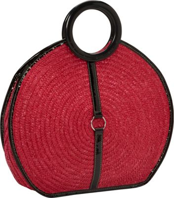 Magid Milan Straw Top Handle Bracelet Round Bag Cherry - Magid Straw Handbags