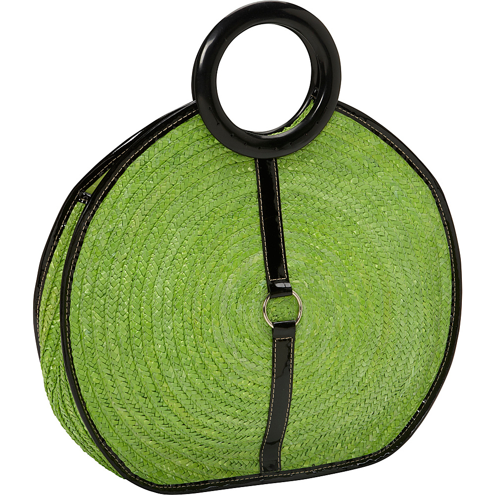 Magid Milan Straw Top Handle Bracelet Round Bag Kiwi - Magid Straw Handbags